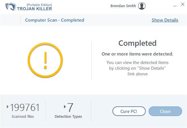 Trojan Killer đã hoàn thành quá trình quét